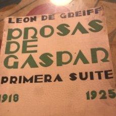 Libros antiguos: PROSAS DE GASPAR LEON DE GREIFF. Lote 182914736
