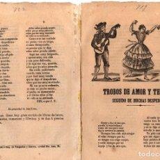 Libri antichi: PLIEGO CORDEL TROBOS DE AMOR Y TERNURA SEGUIDO DE MUCHAS DESPEDIDAS. C. 1860. Lote 183891432