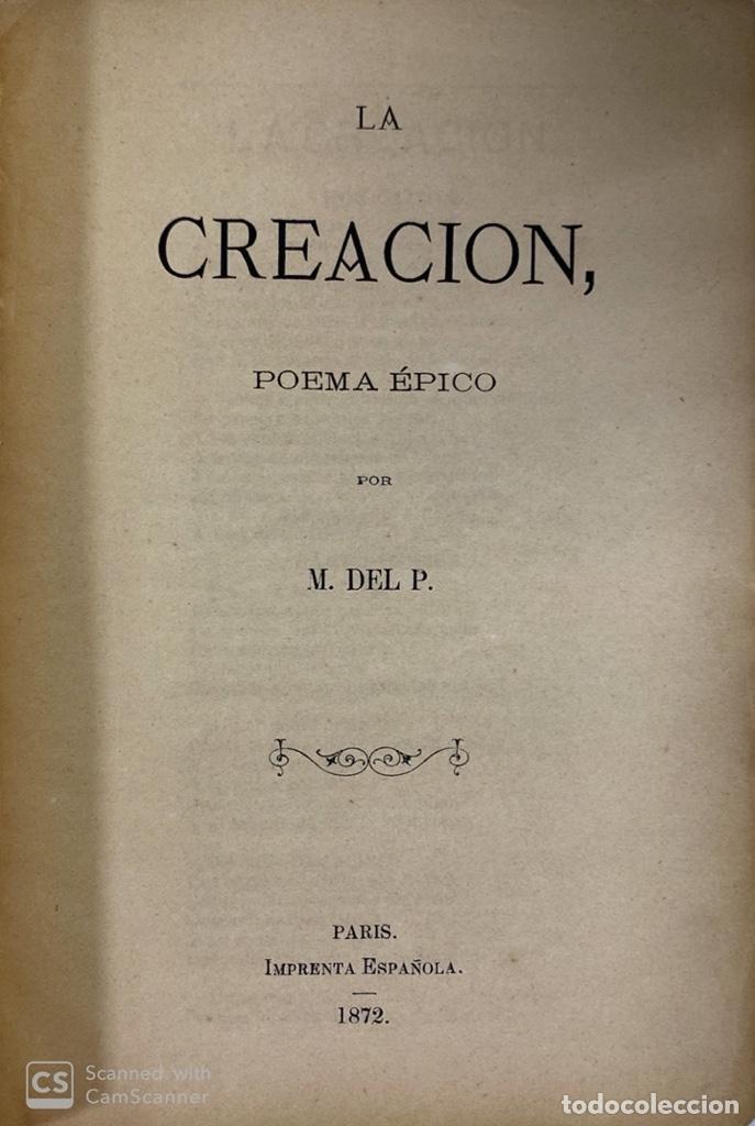 Libros antiguos: LA CREACIÓN. POEMA ÉPICO. MANUEL DEL PALACIO. IMPRENTA ESPAÑOLA. PARIS, 1872. - Foto 3 - 184001872