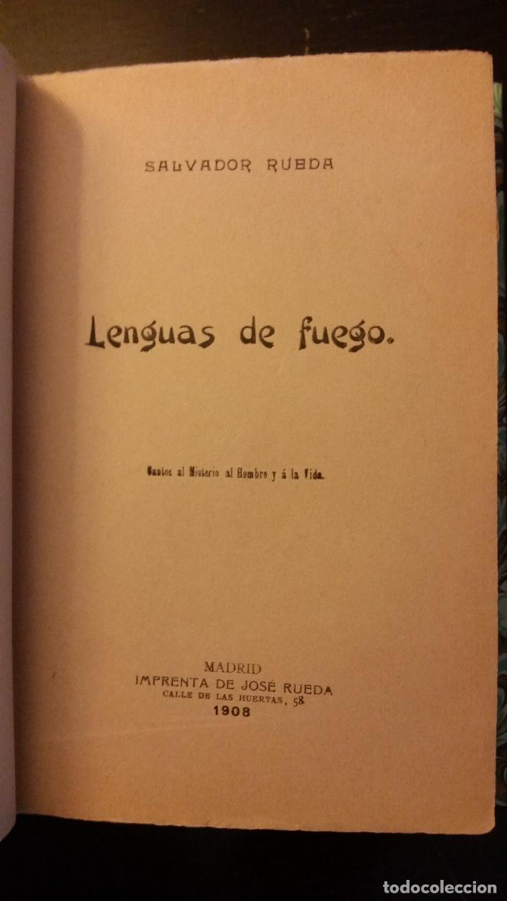 Libros antiguos: 1908 - SALVADOR RUEDA - LENGUAS DE FUEGO - 1ª ED. - Foto 3 - 186156078