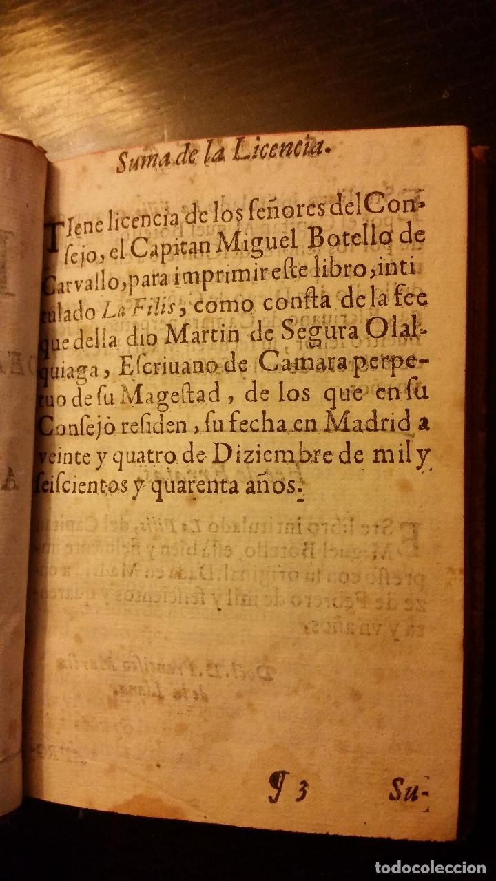 Libros antiguos: 1641 - MIGUEL BOTELLO DE CARVALLO - LA FILIS - PRIMERA EDICIÓN - Foto 3 - 186168848