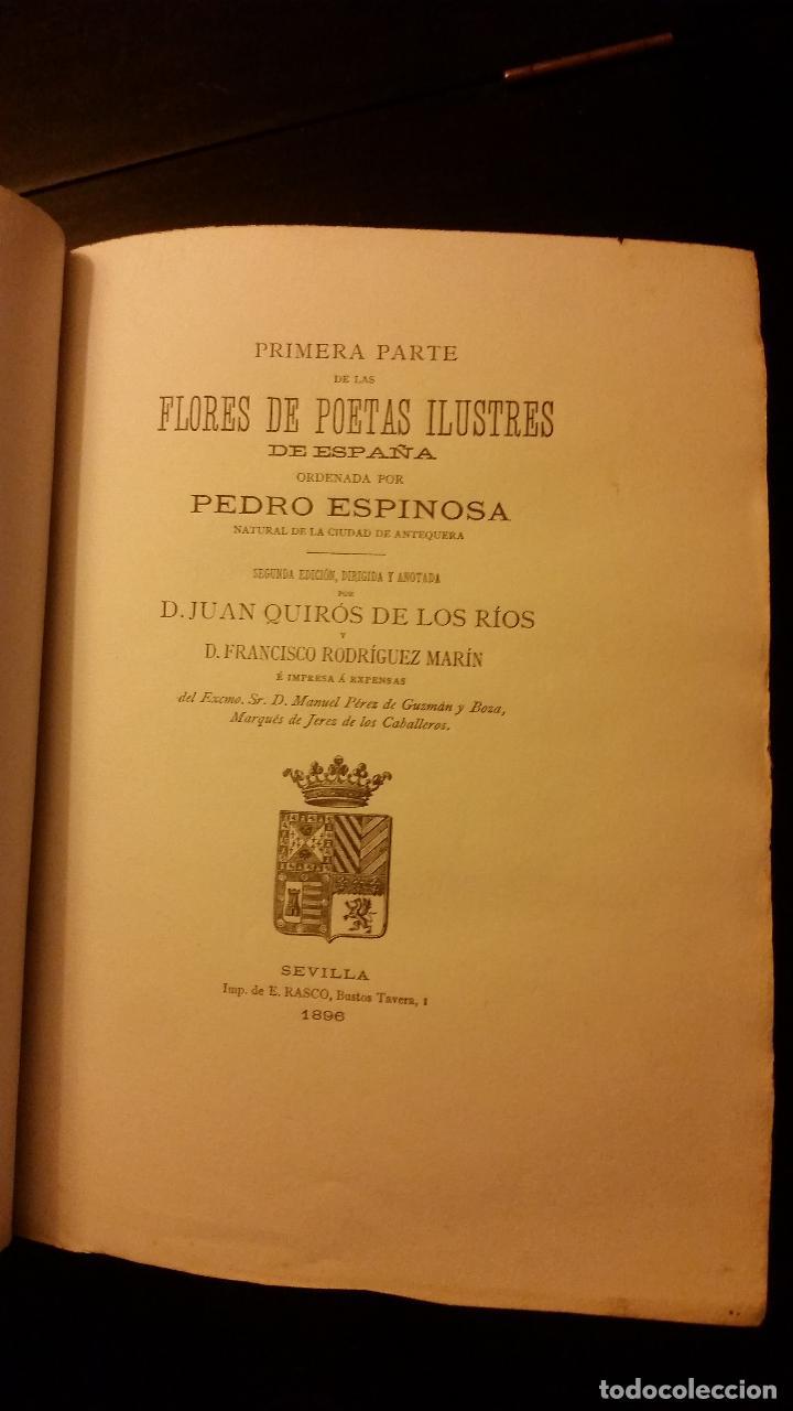 Libros antiguos: 1896 - PEDRO ESPINOSA - Primera (y segunda) parte de las Flores de Poetas Ilustres de España - Foto 4 - 186169460