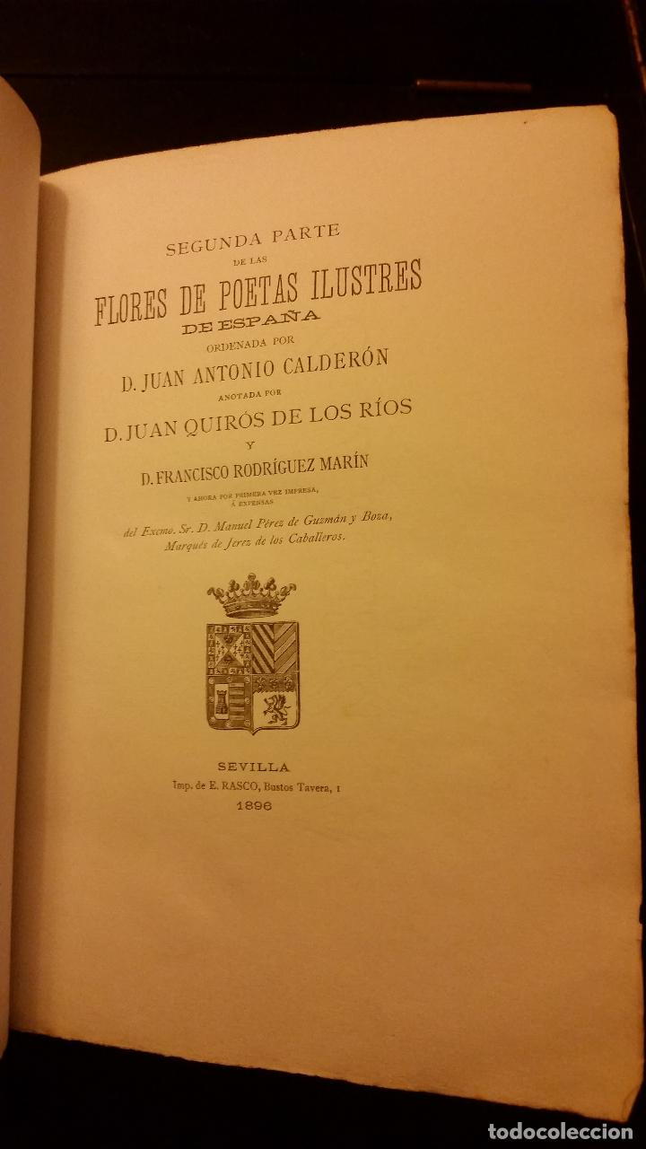 Libros antiguos: 1896 - PEDRO ESPINOSA - Primera (y segunda) parte de las Flores de Poetas Ilustres de España - Foto 7 - 186169460
