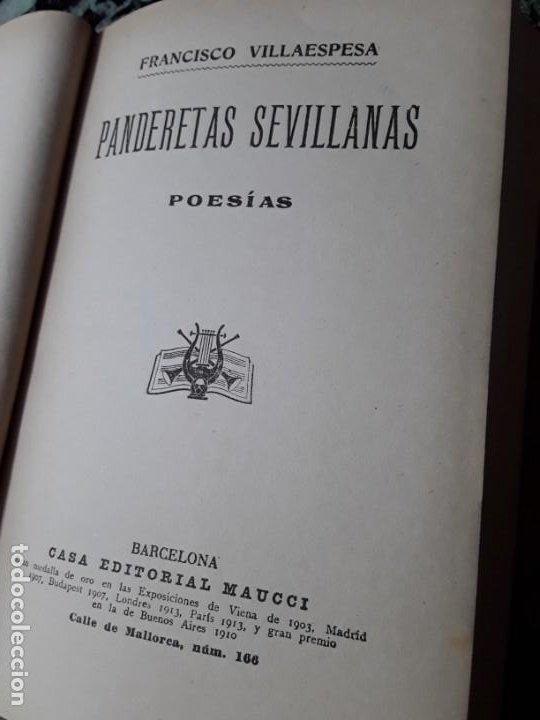 Libros antiguos: Panderetas sevillanas. Francisco Villaespesa. Maucci. Tapa dura. - Foto 2 - 186244323