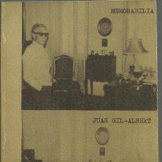 Libros antiguos: MEMORABILIA. JUAN GIL-ALBERT. CUADERNOS MARGINALES, TUSQUETS 1975. Lote 187469202