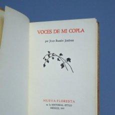 Libros antiguos: VOCES DE MI COPLA - JUAN RAMÓN JIMÉNEZ - NUEVA FLORESTA - EDITORIAL STYLO - MEXICO 1945. Lote 191910685