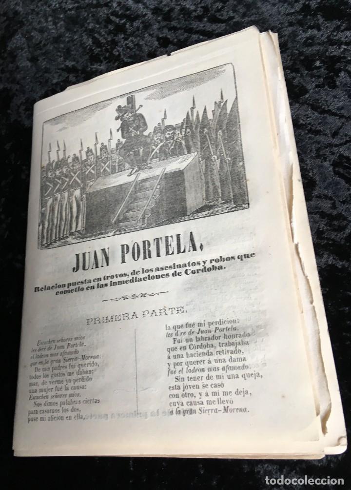 LOTE DE 10 PLIEGOS DE CORDEL JUAN PORTELA - ASESINATOS Y ROBOS EN CÓRDOBA - 1870 IMPR. ROCA (Libros antiguos (hasta 1936), raros y curiosos - Literatura - Poesía)