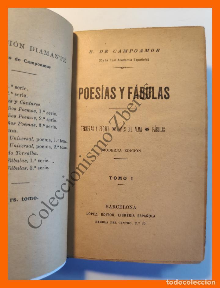 Libros antiguos: Poesias y Fabulas .- Tomo I . Ternezas y Flores - Ayes del Alma - Fábulas - R. de Campoamor - Foto 2 - 194614072