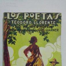 Libros antiguos: LOS POETAS - TEODORO LLORENTE, SUS MEJORES VERSOS, Nº 32, AÑO 1929. Lote 195044220