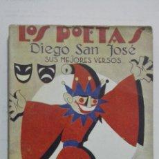 Libros antiguos: LOS POETAS - DIEGO SAN JOSE, SUS MEJORES VERSOS, Nº 38, AÑO 1929. Lote 195045430