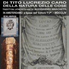 Libros antiguos: PCBROS - DI TITO LUCREZIO CARO - DELLA NATURA DELLE COSE - ALESSANDRO MARCHETTI - AMSTERDAMO 1754. Lote 195389203