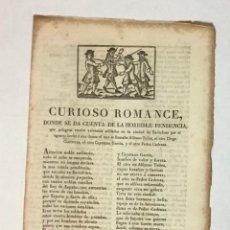 Libros antiguos: CURIOSO ROMANCE, DONDE SE DA CUENTA DE LA HORRIBLE PENDENCIA, QUE PELEARON CUATRO VALEROSOS SOLDADOS. Lote 196649042