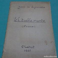 Libros antiguos: JOSE ESPRONCEDA.EL DIABLO MUNDO.POEMA.MADRID 1865.. Lote 198376635