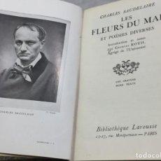 Libros antiguos: LES FLEURS DU MAL ET POÉSIES DIVERSES. INTRODUCTION ET NOTES PAR GEORGES ROTH. CAHRLES BAUDELAIRE. Lote 229622250