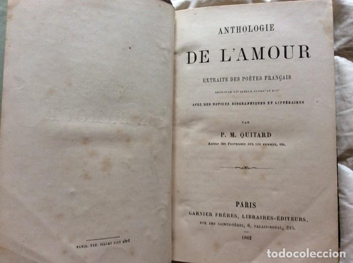 Libros antiguos: ANTOLOGÍA DEL AMOR - EXTRACTO DE POETAS FRANCESES - POR P. M. QUITARD, 1862. MUY ESCASO - Foto 2 - 204232278