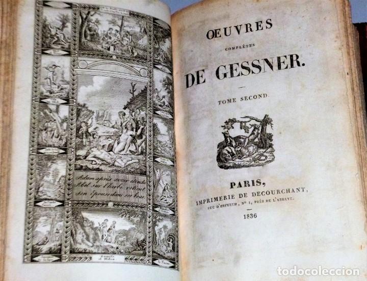Libros antiguos: OEUVRES COMPLÈTES DE GESSNER. Un VOLUMEN CON 2 TOMOS - Foto 4 - 204492258