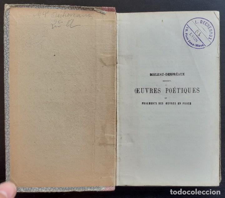 Libros antiguos: Año 1890 - Boileau-Despréaux: Obras Poéticas - Sátiras - Epístolas - Arte Poética - Poesía - Foto 3 - 205361106