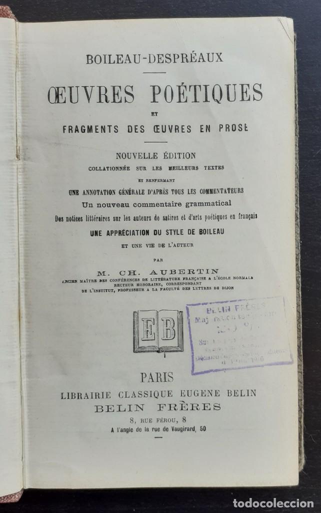 Libros antiguos: Año 1890 - Boileau-Despréaux: Obras Poéticas - Sátiras - Epístolas - Arte Poética - Poesía - Foto 4 - 205361106