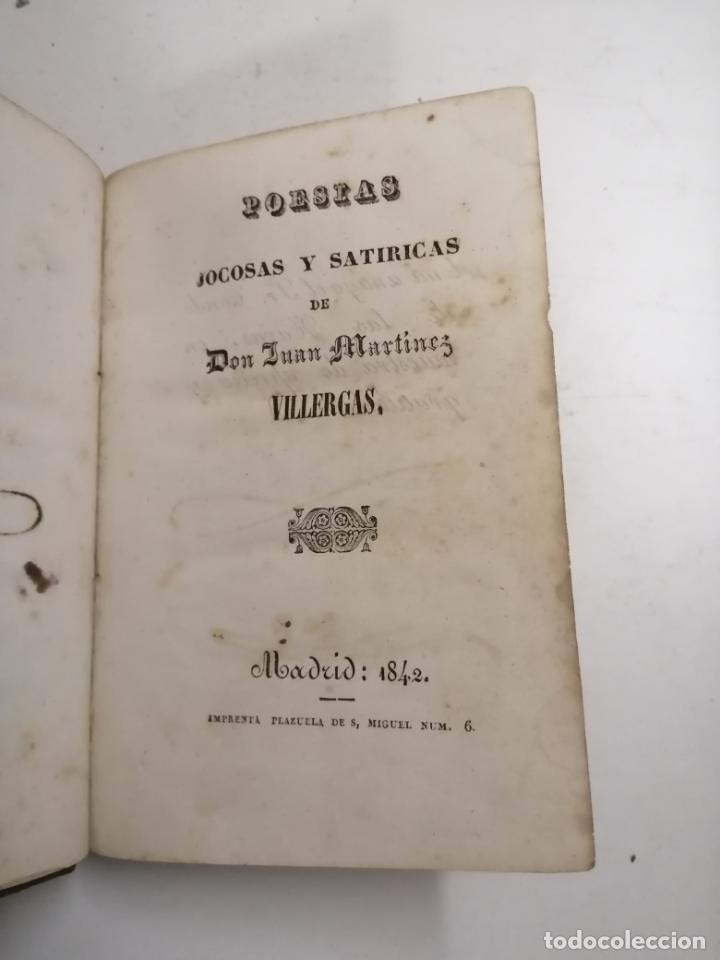 POESIAS JOCOSAS Y SATÍRICAS. J. MARTINEZ VILLERGAS. 1842 MADRID. IM.: PLAZUELA DE S. MIGUEL (Libros antiguos (hasta 1936), raros y curiosos - Literatura - Poesía)
