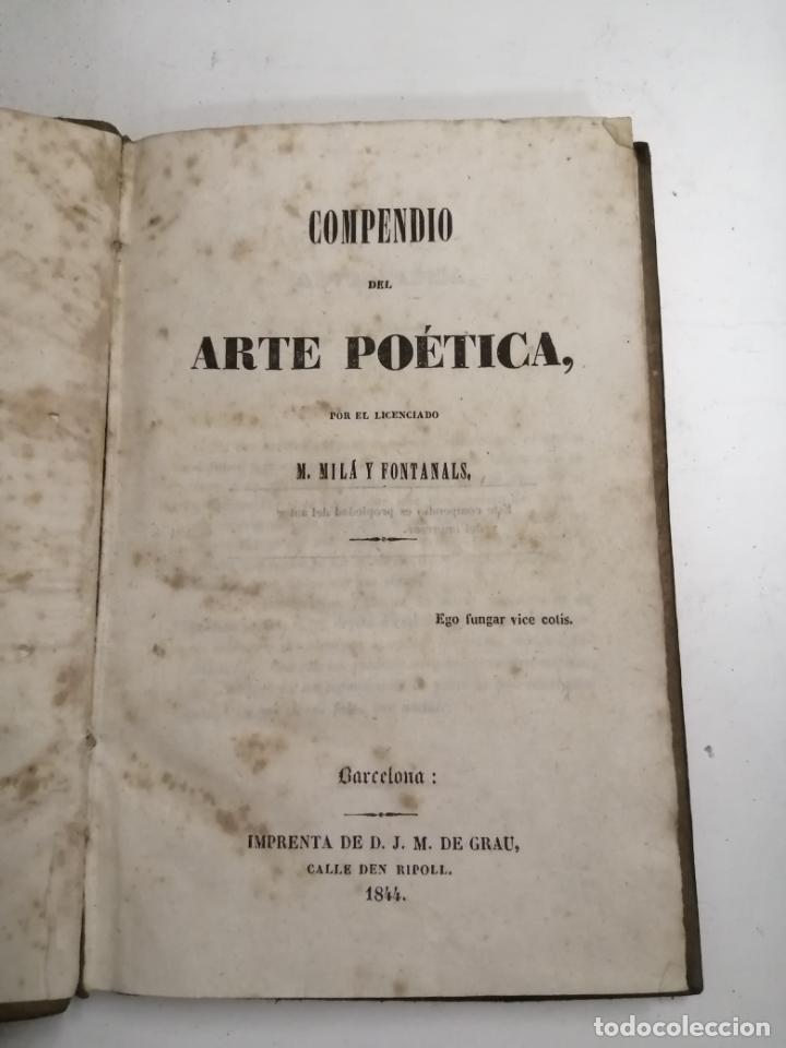 COMPENDIO DEL ARTE POÉTICA. M. MILÁ FONTANALS. 1844 BARCELONA. IM: D.J. M. DE GRAU (Libros antiguos (hasta 1936), raros y curiosos - Literatura - Poesía)