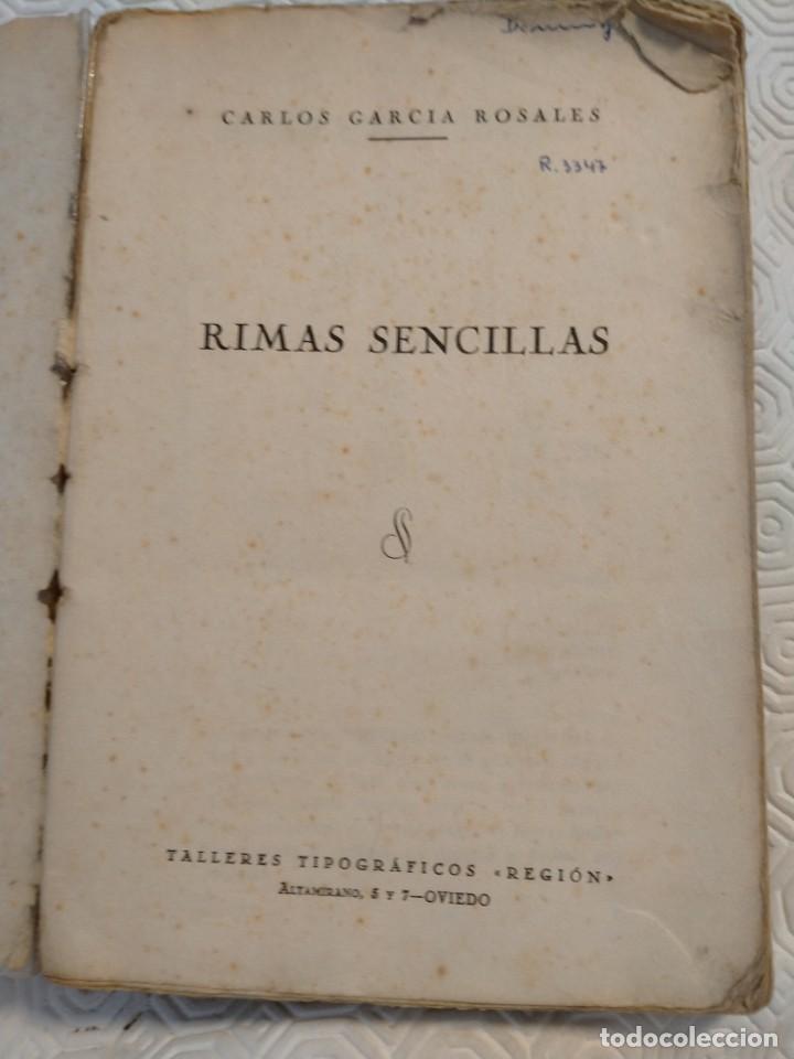 Libros antiguos: RIMAS SENCILLAS. CARLOS GARCIA ROSALES. TALLERES TIPOGRAFICSO REGION, OVIEDO 1930. CON SEÑALES DE US - Foto 2 - 215066013