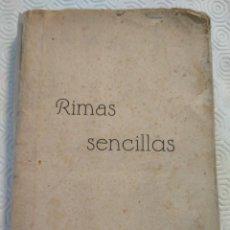 Libros antiguos: RIMAS SENCILLAS. CARLOS GARCIA ROSALES. TALLERES TIPOGRAFICSO REGION, OVIEDO 1930. CON SEÑALES DE US. Lote 215066013