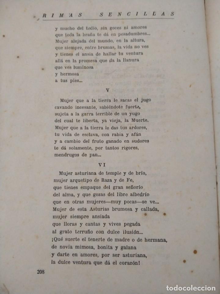 Libros antiguos: RIMAS SENCILLAS. CARLOS GARCIA ROSALES. TALLERES TIPOGRAFICSO REGION, OVIEDO 1930. CON SEÑALES DE US - Foto 11 - 215066013