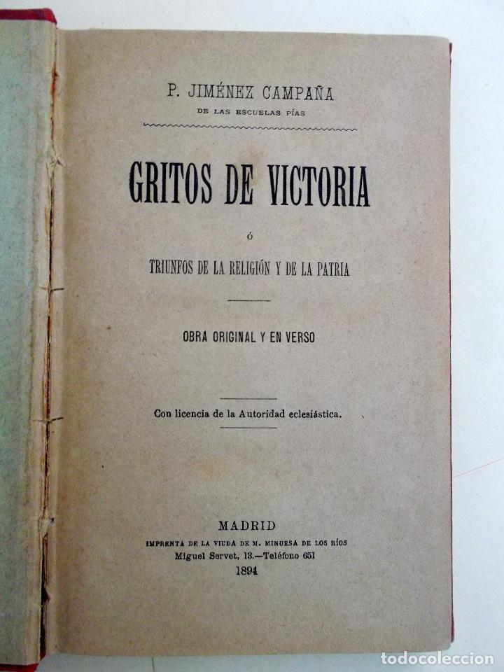 Libros antiguos: 1894 Gritos e Victoria o Triunfo de la Religión y de la Patria muy raro - Foto 2 - 218488895