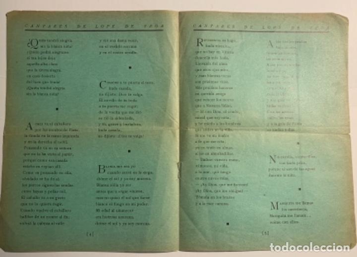 """Libros antiguos: Cantares de Lope de Vega. Homenaje del Teatro Universitario """"La Barraca"""" al gran Poeta Español Lope - Foto 2 - 218554163"""