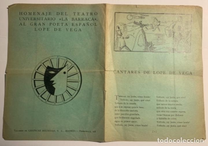 """Libros antiguos: Cantares de Lope de Vega. Homenaje del Teatro Universitario """"La Barraca"""" al gran Poeta Español Lope - Foto 3 - 218554163"""