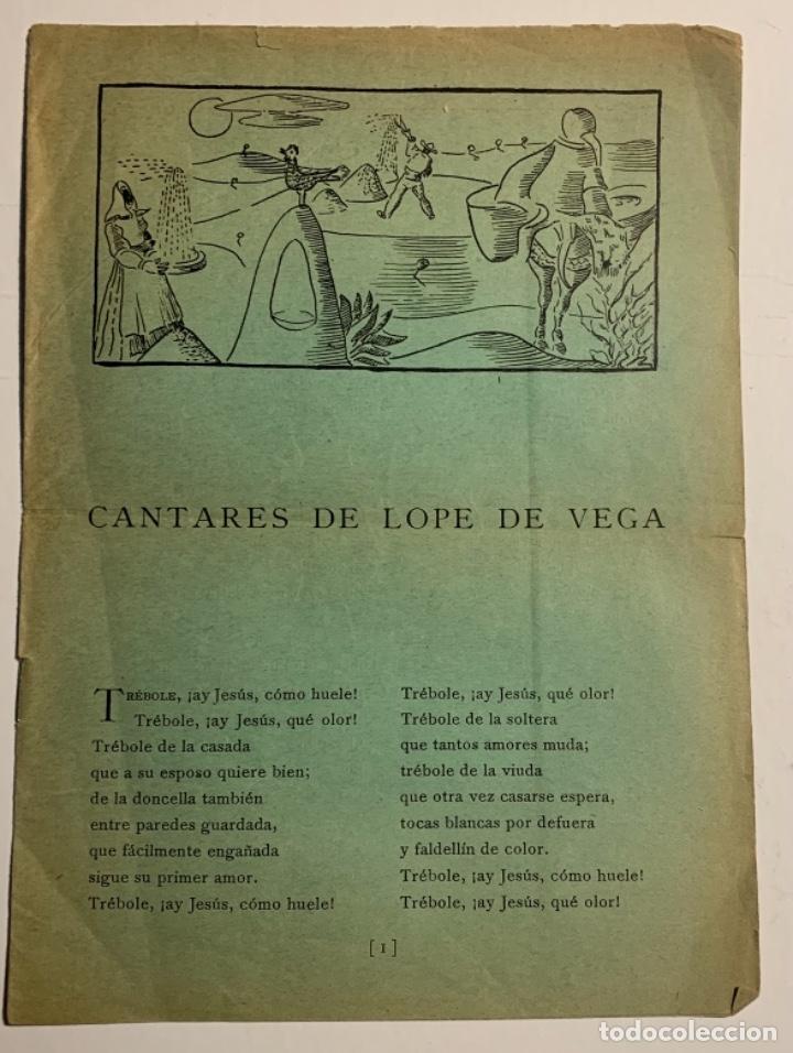 """CANTARES DE LOPE DE VEGA. HOMENAJE DEL TEATRO UNIVERSITARIO """"LA BARRACA"""" AL GRAN POETA ESPAÑOL LOPE (Libros antiguos (hasta 1936), raros y curiosos - Literatura - Poesía)"""