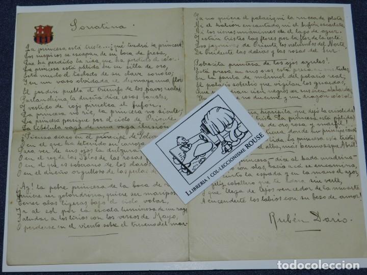 CARTA POEMA MANUSCRITO Y FIRMADO POR RUBÉN DARÍO - POEMA SONATINA, ORIGINAL (Libros antiguos (hasta 1936), raros y curiosos - Literatura - Poesía)