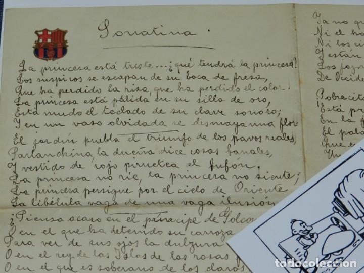 Libros antiguos: CARTA POEMA MANUSCRITO Y FIRMADO POR RUBÉN DARÍO - POEMA SONATINA, ORIGINAL - Foto 3 - 221277868