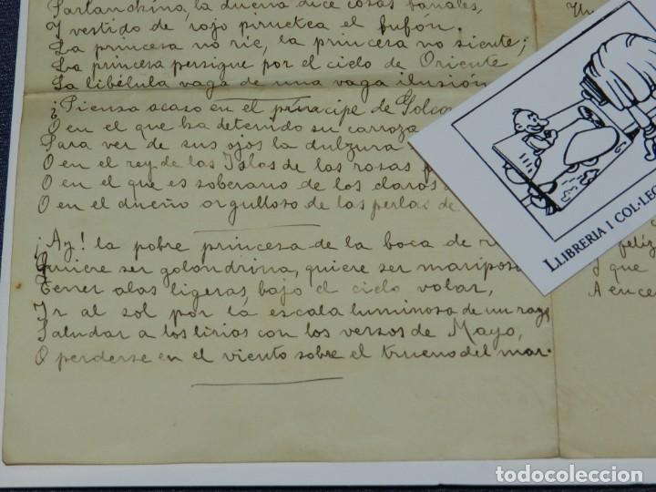 Libros antiguos: CARTA POEMA MANUSCRITO Y FIRMADO POR RUBÉN DARÍO - POEMA SONATINA, ORIGINAL - Foto 4 - 221277868