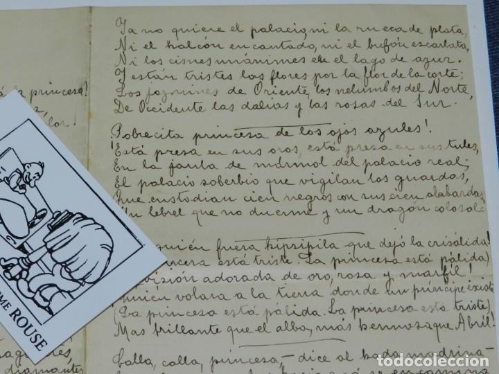 Libros antiguos: CARTA POEMA MANUSCRITO Y FIRMADO POR RUBÉN DARÍO - POEMA SONATINA, ORIGINAL - Foto 5 - 221277868