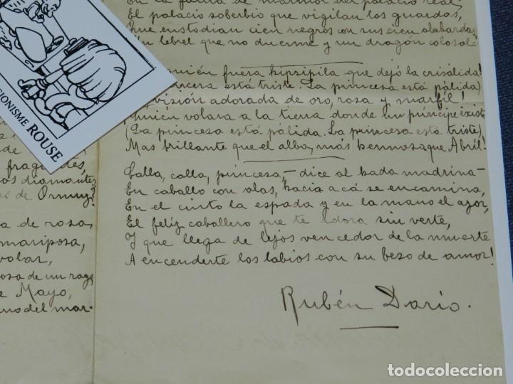 Libros antiguos: CARTA POEMA MANUSCRITO Y FIRMADO POR RUBÉN DARÍO - POEMA SONATINA, ORIGINAL - Foto 6 - 221277868