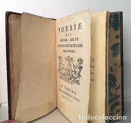 Libros antiguos: Poesie del Signor Abate P. de Metastasio (t ottavo) 1757. (Adriano en Siria, Didone abbandonata, - Foto 2 - 235507985