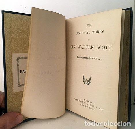 Libros antiguos: Sir Walter Scott : The Poetical Works. (629 pags.) Tela azul con lomo dorado - Foto 2 - 235615650