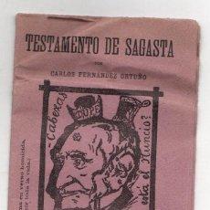 Libri antichi: TESTAMENTO DE SAGASTA. POLITICO LIBERAL. POR CARLOS FERNANDEZ ORTUÑO. C. 1903. Lote 236560270