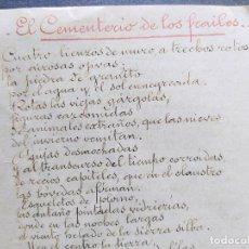 Livros antigos: POEMA MANUSCRITO ORIGINAL DE ENRIQUE DE MESA, DE LA GENERACIÓN DEL 98. UNA JOYA.. Lote 239514230