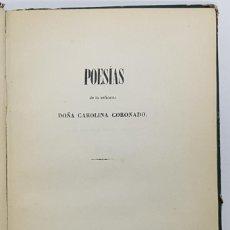 Libros antiguos: POESÍAS DE LA SEÑORITA DOÑA CAROLINA CORONADO. 1843. 1ª EDICIÓN, MUY RARO (ALMENDRALEJO). Lote 243910840
