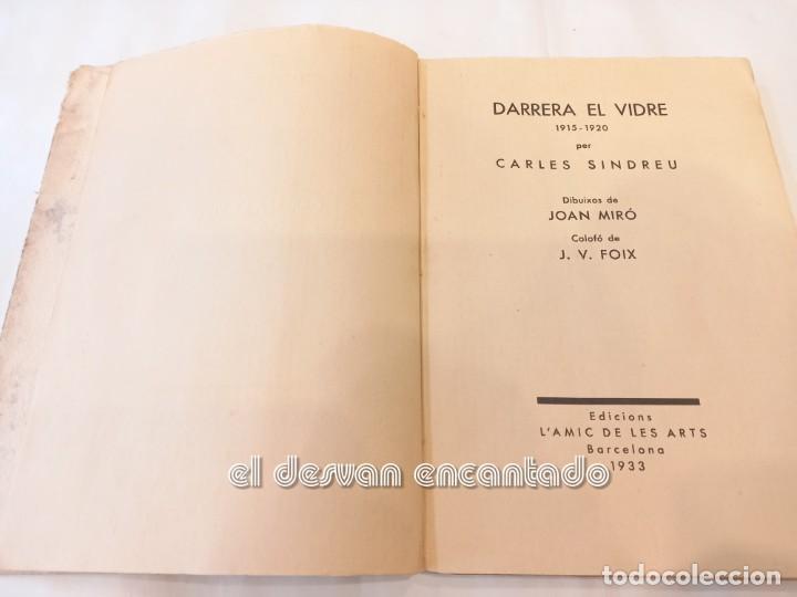 Libros antiguos: DARRERA EL VIDRE. Carles Sindreu. Ilust. Joan Miró. 1933. Dedicat a GALA DALI. Ex. nº 1 de 100 - Foto 3 - 245395930