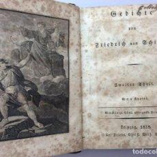 Libros antiguos: GEDICHTE. ZWEITER THEIL [VOL. 2] VOGEL, LEIPZIG, 1818. MUY RARO. EN ALEMÁN. CON DEDICAT. MANUSCRITA. Lote 247718780