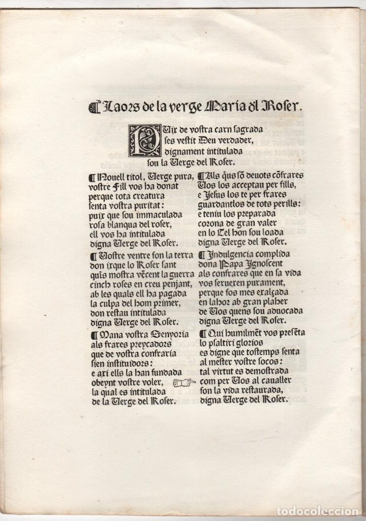 Libros antiguos: Cançoneret y miracles en lahor del Psaltiri o Roser ab singulars imatges catalanes del quinzen segle - Foto 3 - 251335240
