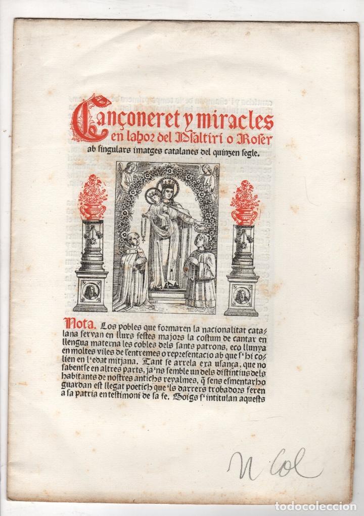 CANÇONERET Y MIRACLES EN LAHOR DEL PSALTIRI O ROSER AB SINGULARS IMATGES CATALANES DEL QUINZEN SEGLE (Libros antiguos (hasta 1936), raros y curiosos - Literatura - Poesía)