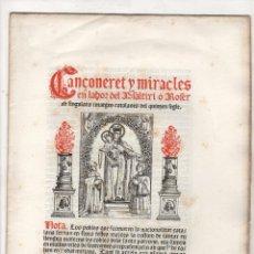 Libros antiguos: CANÇONERET Y MIRACLES EN LAHOR DEL PSALTIRI O ROSER AB SINGULARS IMATGES CATALANES DEL QUINZEN SEGLE. Lote 251335240