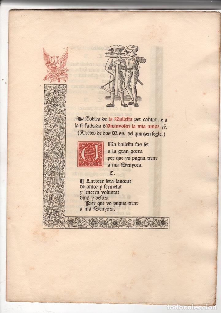 COBLES DE LA BALLESTA PER CANTAR, E A LA FI L'ALBADA D'ANAUVOSEN LA MIA AMOR. (Libros antiguos (hasta 1936), raros y curiosos - Literatura - Poesía)