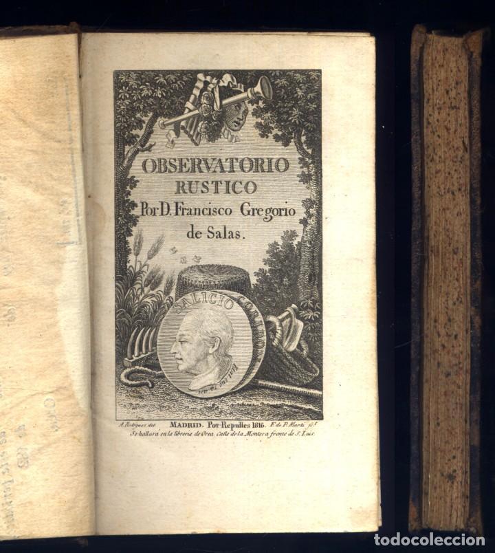 Libros antiguos: SALAS, Francisco Gregorio de. Observatorio Rústico. 1816. - Foto 2 - 253469165