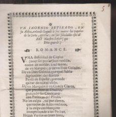 Libros antiguos: ROMANCE AL REY N. S. POR UN INGENIO RETIRADO EN SU ALDEA. S. XVIII. GUERRA DE SUCESIÓN. Lote 268866509