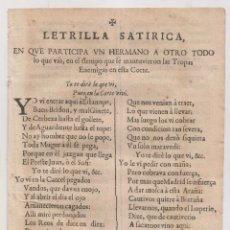 Libros antiguos: LETRILLA SATÍRICA. SOBRE LAS TROPAS ENEMIGAS EN LA CORTE. S. XVIII. GUERRA DE SUCESIÓN. Lote 268897864